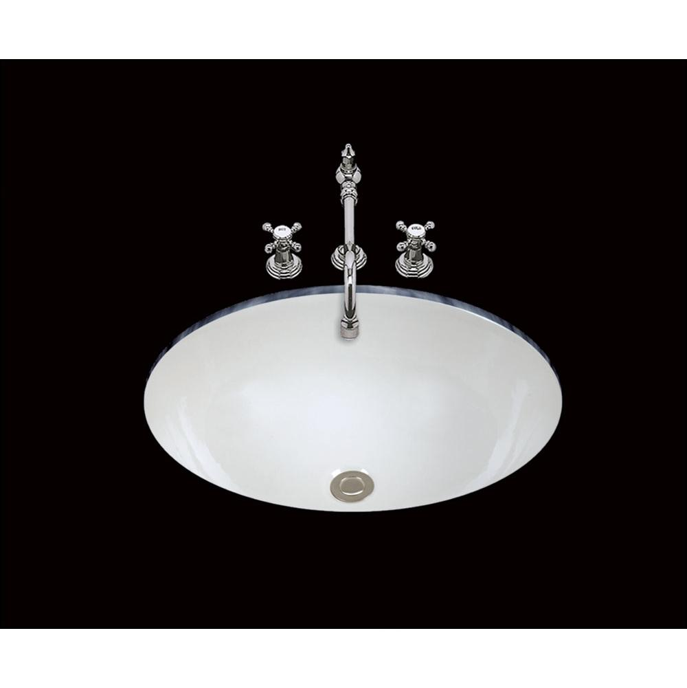 Bates And Bates Abby, Single Glazed, Large Plain Oval Lavatory, Center Drain, No Overflow, Undermount Only