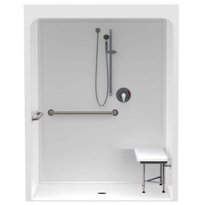 Clarion Bathware 58'' Acrylic Shower W/ 6'' Threshold - Center Drain