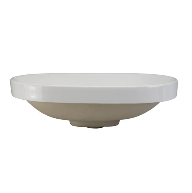 Decolav Semi-Recessed Oval Lavatory White with Vitreous China Drain Cover