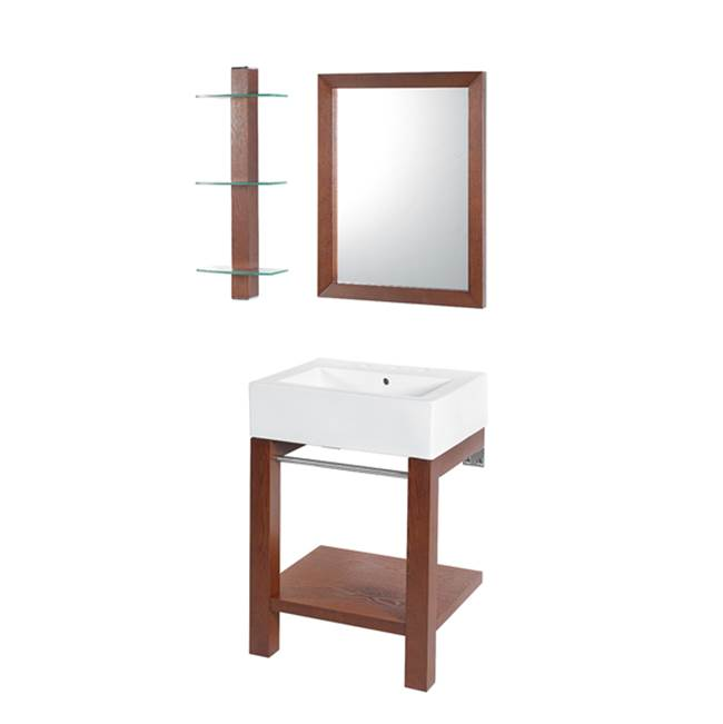 Decolav Infusion Collection Wall Mounted Cognac Finish Lavatory Console with White Vitreous China Countertop