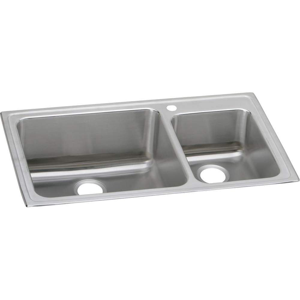 Elkay Elkay Lustertone Classic Stainless Steel 37'' x 22'' x 10'', Offset 60/40 Double Bowl Drop-in Sink
