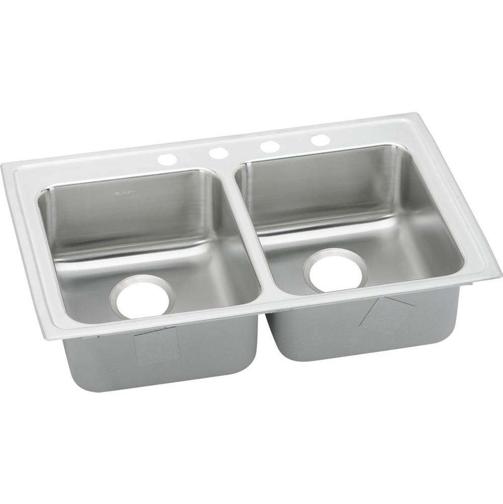 Elkay Elkay Lustertone Classic Stainless Steel 33'' x 19-1/2'' x 6'', Equal Double Bowl Drop-in ADA Sink