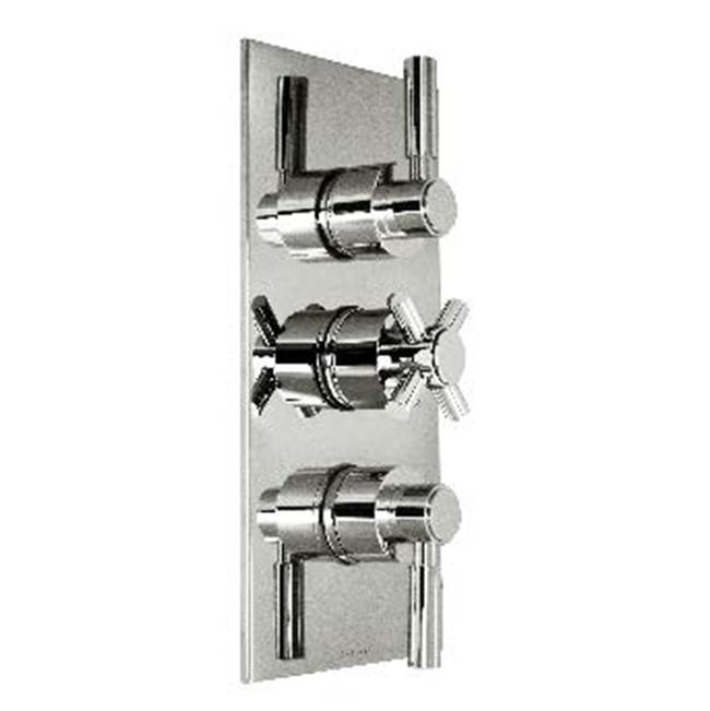 Harrington Brass Works Metro-Thermostatic Trim With Solid Brass Square Plate With Three Handles