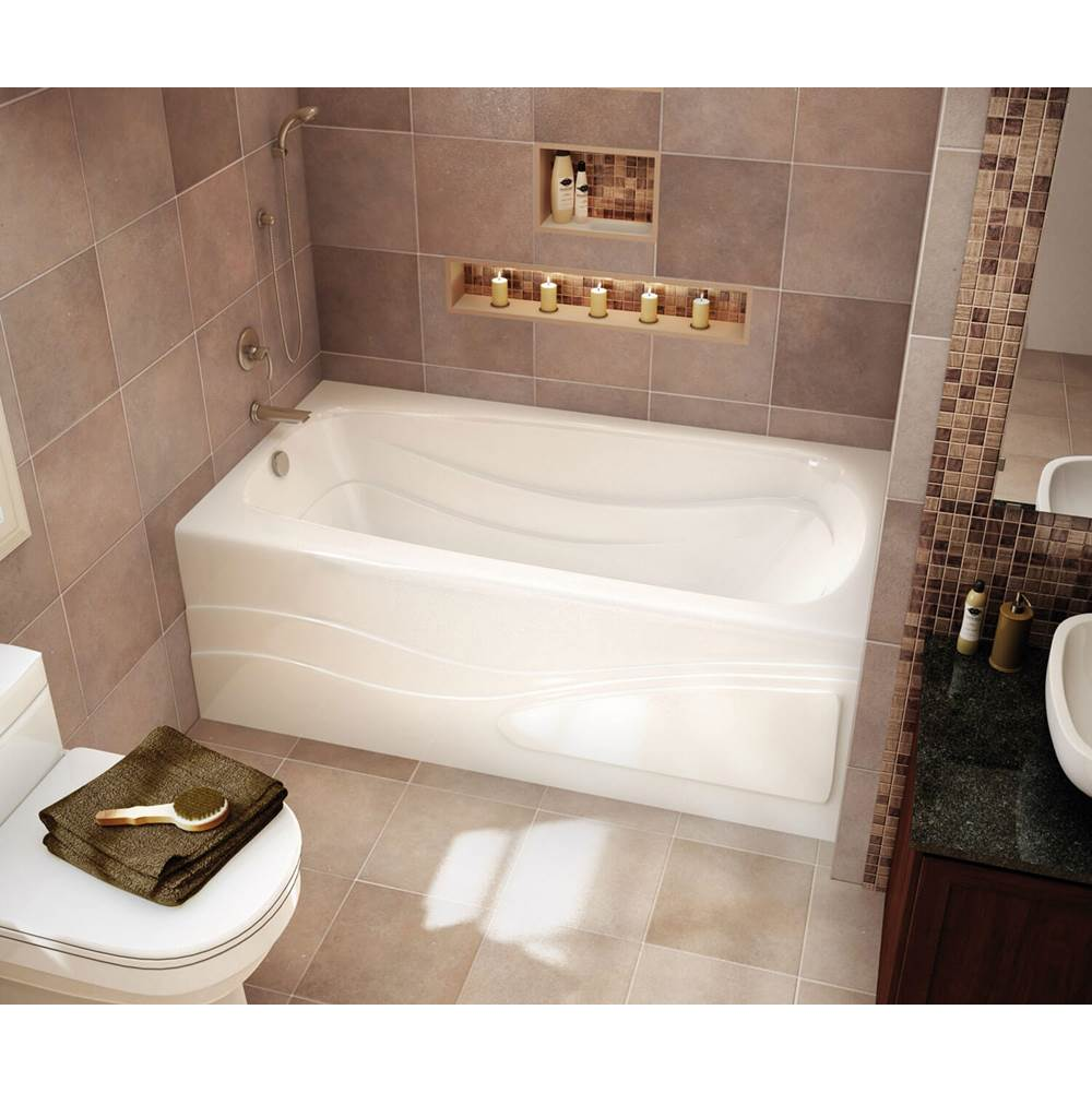 Maax Tenderness 59.875 in. x 35.75 in. Alcove Bathtub with Whirlpool System Left Drain in White