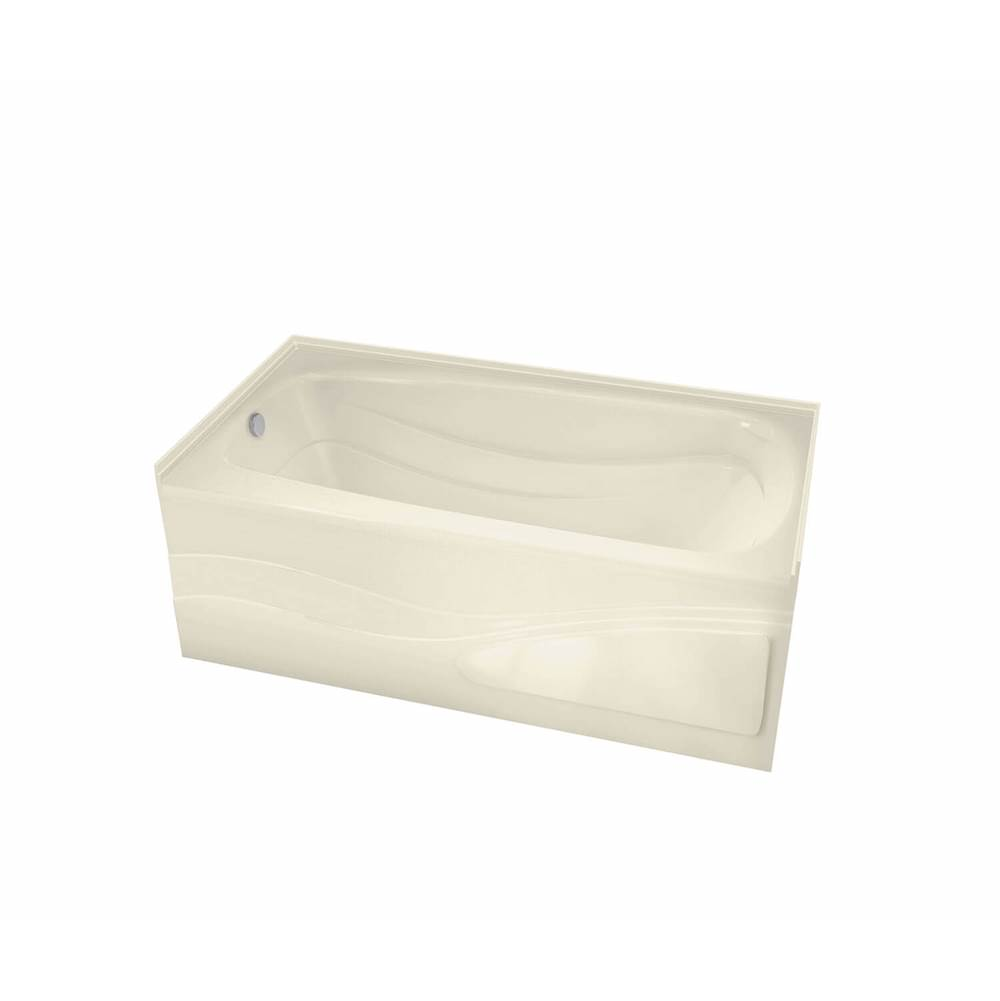 Maax Tenderness 59.875 in. x 35.75 in. Alcove Bathtub with Whirlpool System Left Drain in Bone