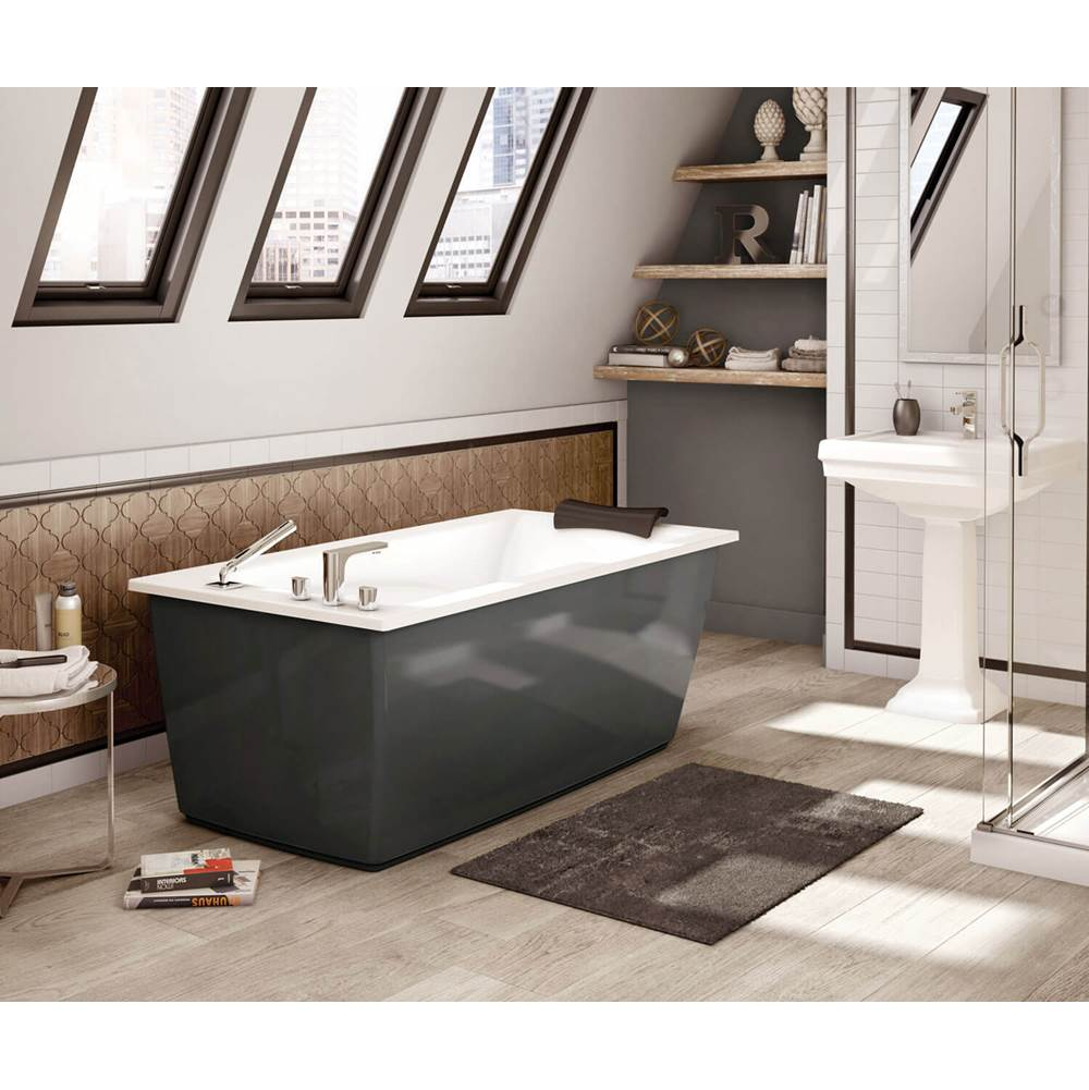 Maax Optik F 60 in. x 32 in. Freestanding Bathtub with Aerofeel System End Drain in Thunder Grey