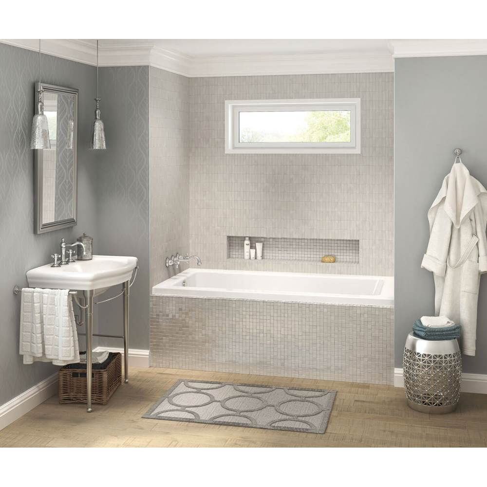 Maax Pose IF 59.625 in. x 31.625 in. Alcove Bathtub with Aeroeffect System Left Drain in White