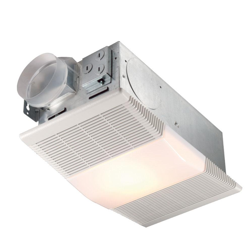 Broan Nutone 70 CFM, 4.0 Sones, Exhaust fan with 1300W heater and 100W incandescent light (bulb