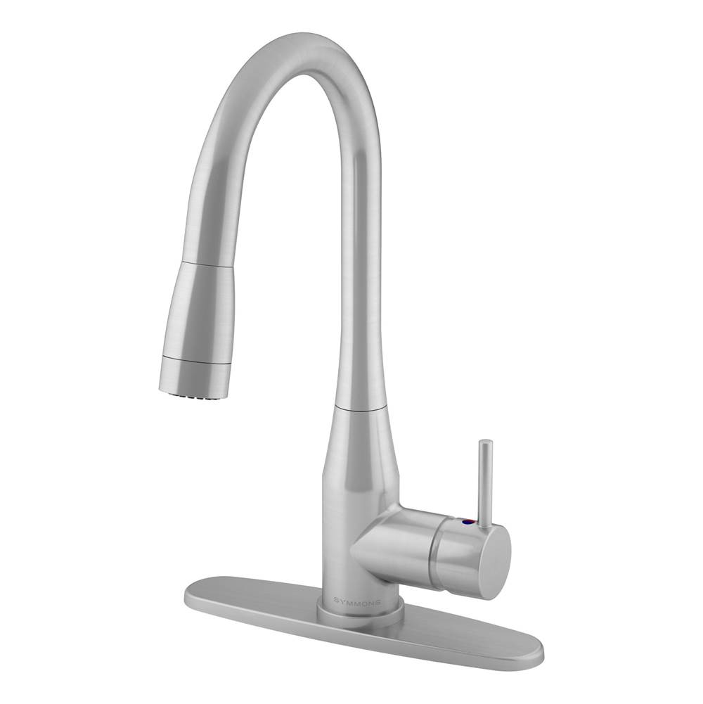 Symmons Sereno Single-Handle Pull-Down Sprayer Kitchen Faucet with Deck Plate in Stainless Steel (1.0 GPM)