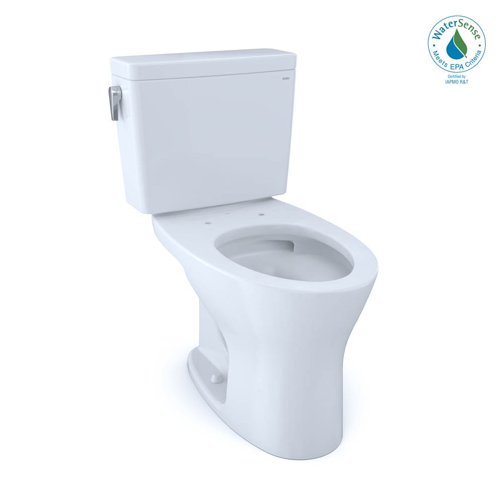 Toto Drake® Two-Piece Elongated Dual Flush 1.28 and 0.8 GPF Universal Height DYNAMAX TORNADO FLUSH® Toilet with CEFIONTECT®, Cotton White
