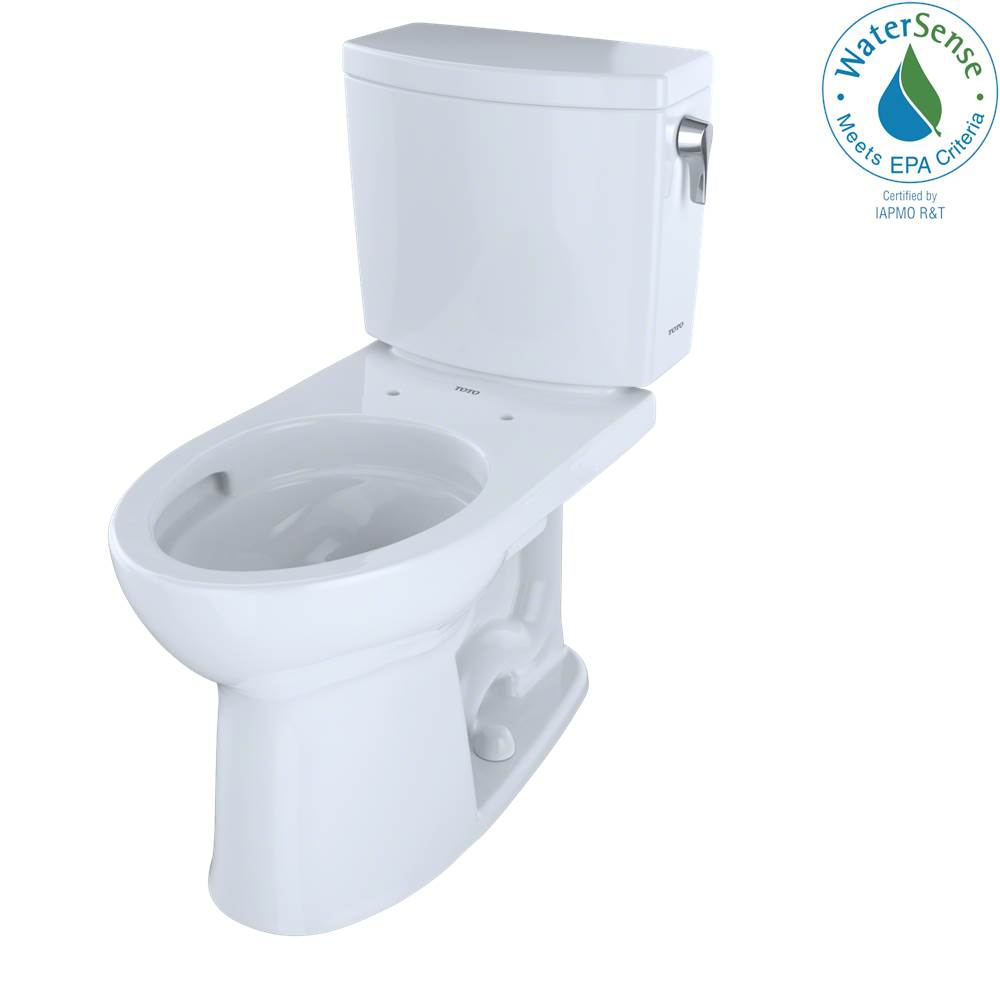Toto Drake® II 1G® Two-Piece Elongated 1.0 GPF Universal Height Toilet with CEFIONTECT and Right-Hand Trip Lever, Cotton White