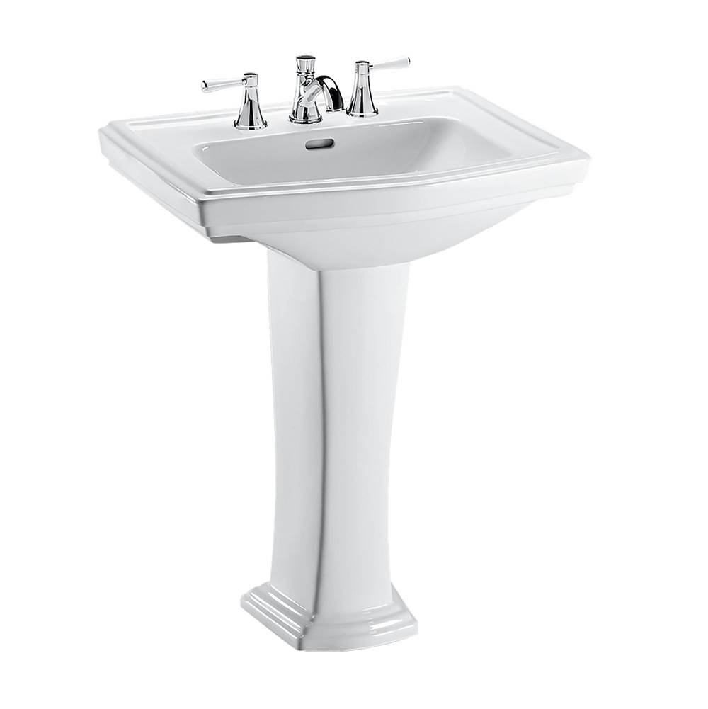 Toto Clayton® Rectangular Pedestal Bathroom Sink for 4 Inch Center Faucets, Cotton White