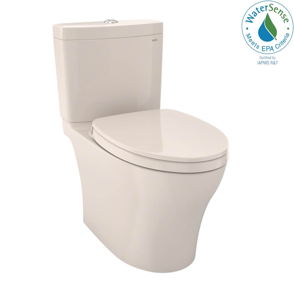 Toto Aquia® IV Two-Piece Elongated Dual Flush 1.28 and 0.8 GPF Universal Height Toilet with CEFIONTECT®, WASHLET®+ Ready, Sedona Beige