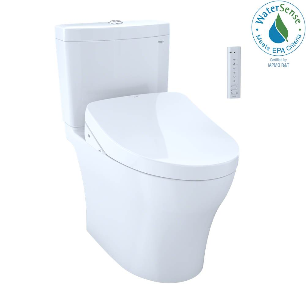 Toto WASHLET+® Aquia IV Two-Piece Elongated Dual Flush 1.28 and 0.8 GPF Toilet and Contemporary WASHLET S500e Bidet Seat, Cotton White