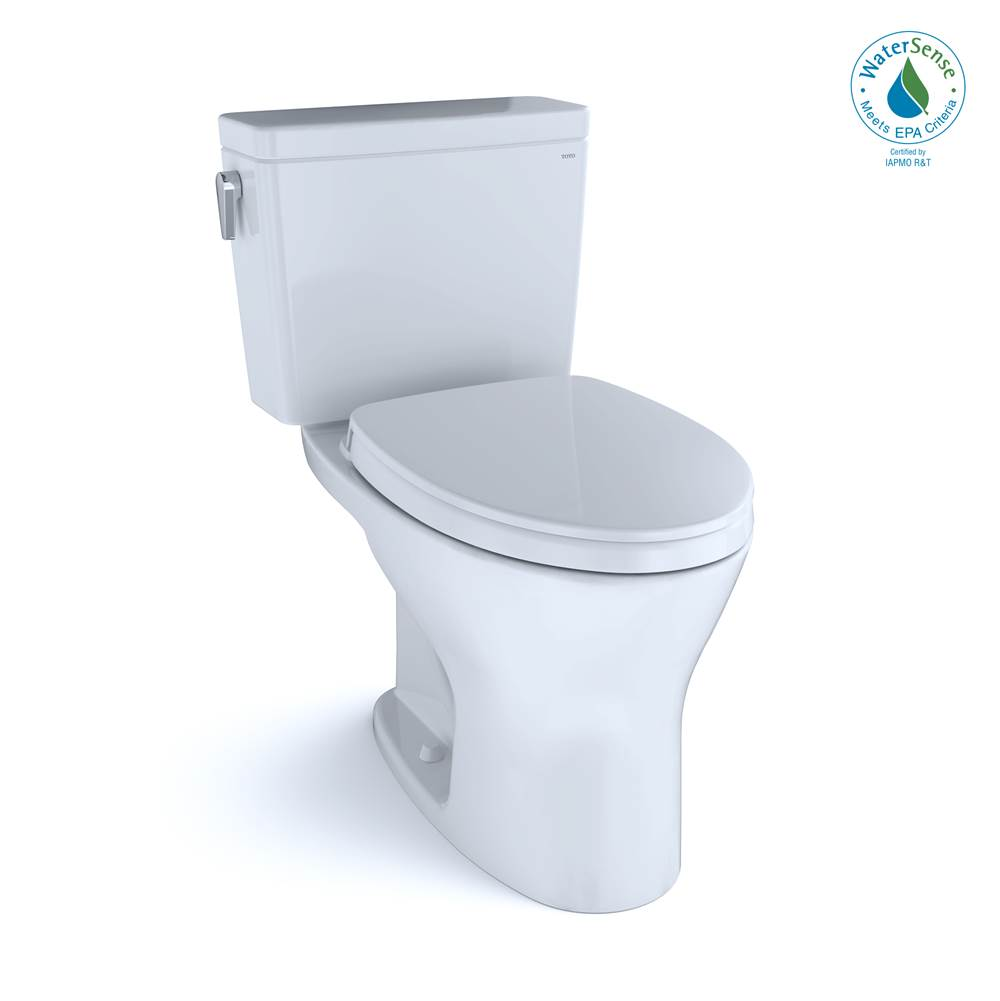 Toto Drake® Two-Piece Elongated Dual Flush 1.28,0.8 GPF DYNAMAX TORNADO FLUSH® Toilet with CEFIONTECT®,SoftClose Seat, WASHLET+ Ready, Cotton Wh